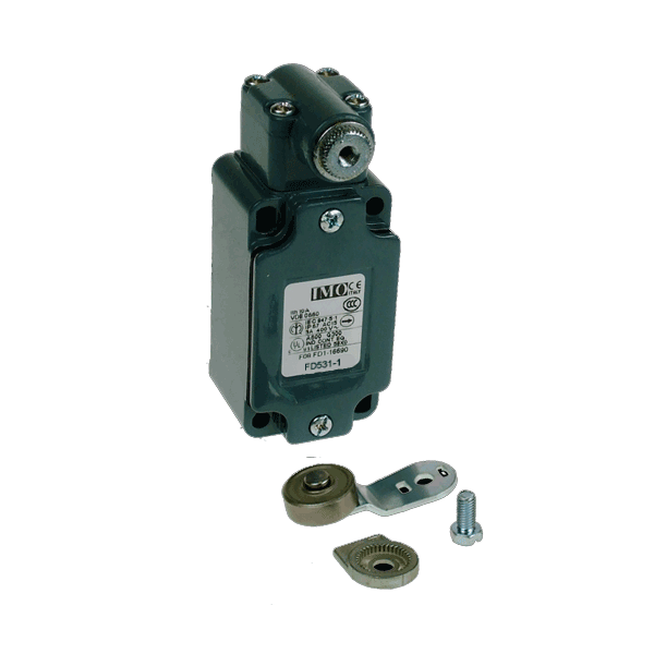 FD531-1 Limit Switch, Standard Steel Roller Lever With Offset NO+NC Snap Action Metal Body 1 x PG13.5 Entry