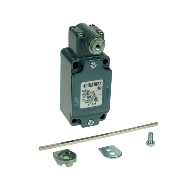 FD533 Limit Switch, Standard Steel Roller Lever 3x3x125mm NO+NC Snap Action Metal Body 1 x PG13.5 Entry