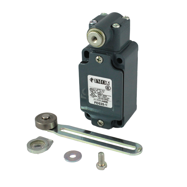 FD535-1 Limit Switch, Standard Adjustable Steel Roller Lever NO+NC Snap Action Metal Body 1 x PG13.5 Entry