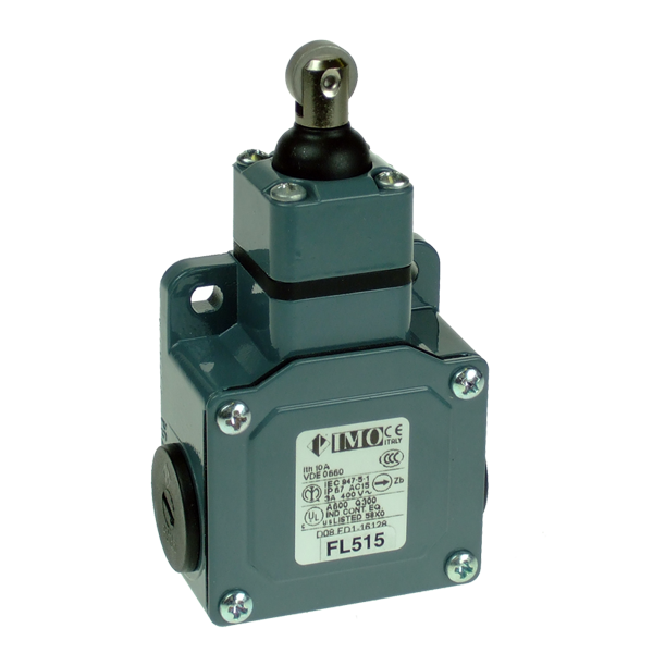 FL515 Limit Switch, Standard Sealed Roller Piston Plunger NO+NC Snap Action Metal Body 3 x PG13.5 Entry