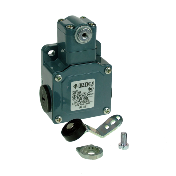 FL551-M2 Limit Switch, Standard Roller Lever Large Offset NO+NC Snap Action Metal Body 3 x PG13.5 Entry