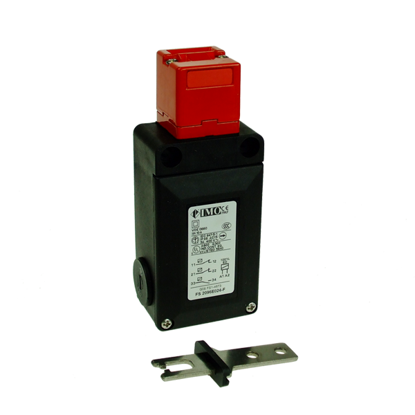 FS2096E024-F Safety Door Interlock Solenoid Operated, Flat Act. NO+2NC, Off To Release, 24VAC Plastic Body 3 x PG13.5 Entry
