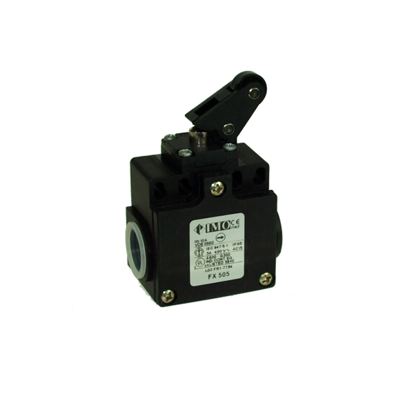 FX505 Limit Switch, Compact One Way Roller Side Actuation NO+NC Snap Action Plastic Body 2 x PG13.5 Entry