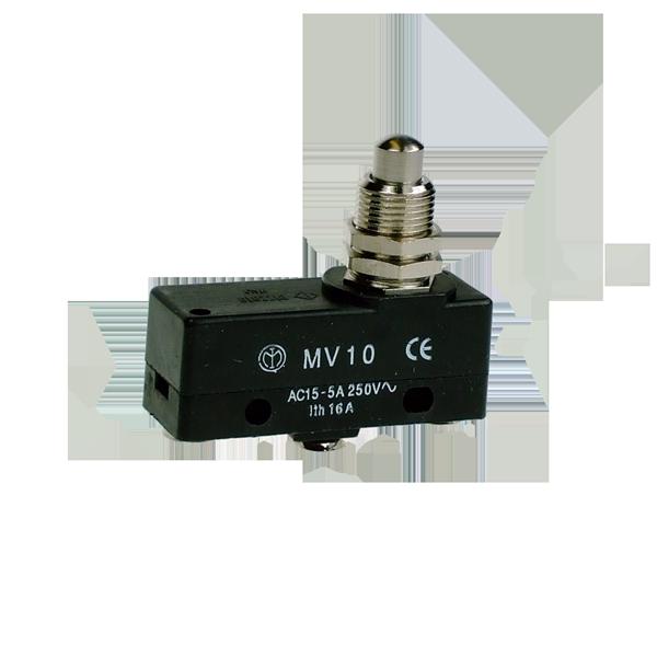 MV10 Microswitch, Screw Terminals Piston Plunger 7.4mm Diameter CO Contact Plus M12 Neck Mount