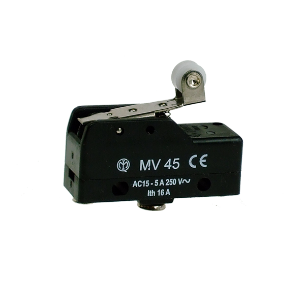 MV45 Microswitch, Screw Terminals Roller Lever 25mm CO Contact