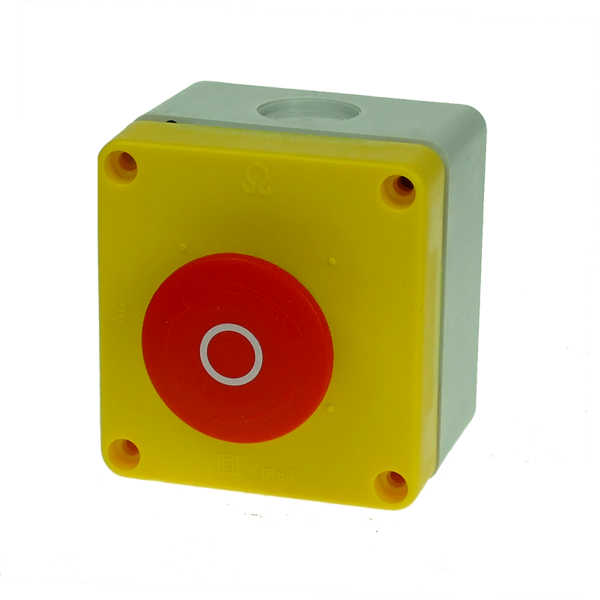 BG10P34 Emergency Stop Station 40mm Twist To Release Red Button,   Yellow Enclosure Face,  2 Normally Closed Contacts