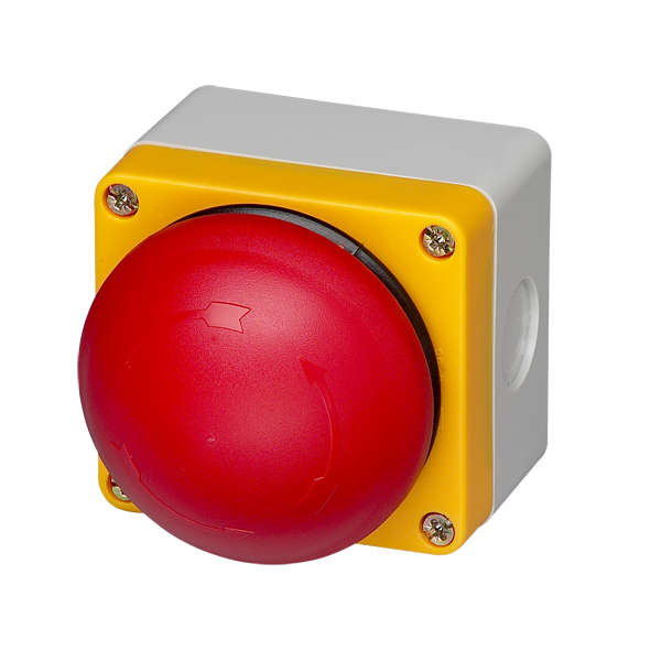 BG10P34P-02 Emergency Stop Station 70mm Twist To Release Red Button,   Yellow Enclosure Face,  2 Normally Closed Contacts