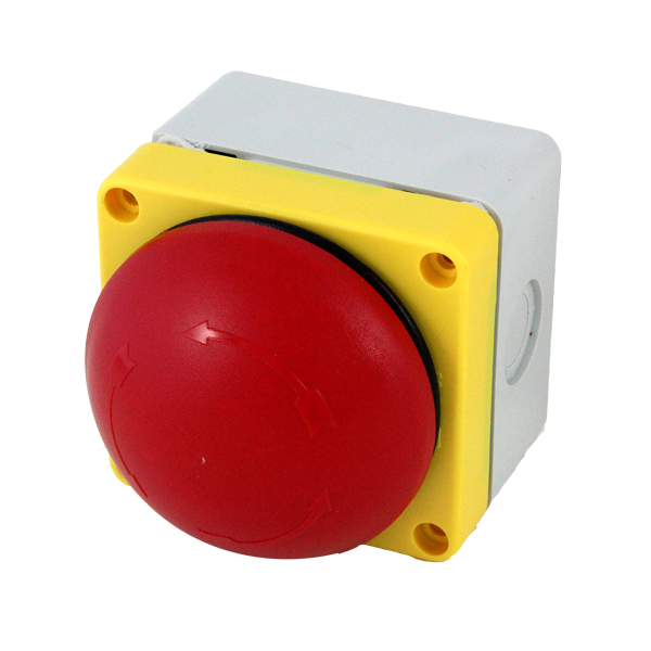 BG10P34P-11 Emergency Stop Station 70mm Twist To Release Red Button,   Yellow Enclosure Face, 1 Open 1 Closed Contacts Inside