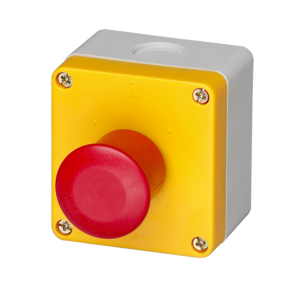 BG10P45-11 Emergency Stop Station 40mm Red Button, Yellow Face, 1 Normally Open And 1 Normally Closed Contacts