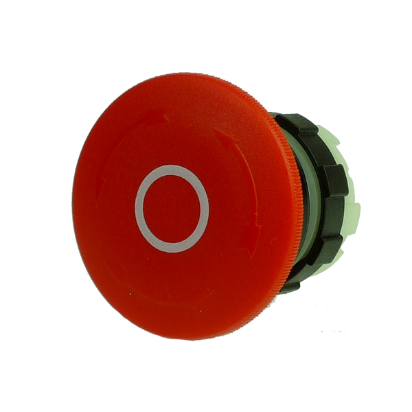 BS3P34RED-O Emergency Stop Pushbutton 40mm, Red With White O, Turn To Release, Black Bezel