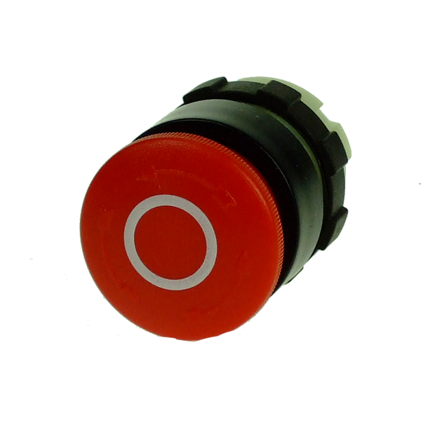 BS3P3RED-O Emergency Stop Pushbutton 28mm, Red With White O,  Print, Turn To Release, Black Bezel