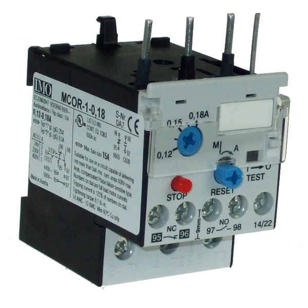MCOR-1-0.18 Thermal Overload Relay For MC10 To MC22 Contactors 0.12 To 0.18 Amps