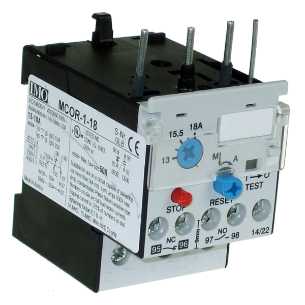 MCOR-1-18 Thermal Overload Relay For MC10 To MC22 Contactors 13 To 18 Amps