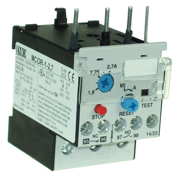MCOR-1-2.7 Thermal Overload Relay For MC10 To MC22 Contactors 1.8 To 2.7 Amps