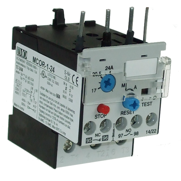 MCOR-1-24 Thermal Overload Relay For MC10 To MC22 Contactors 17 To 24 Amps