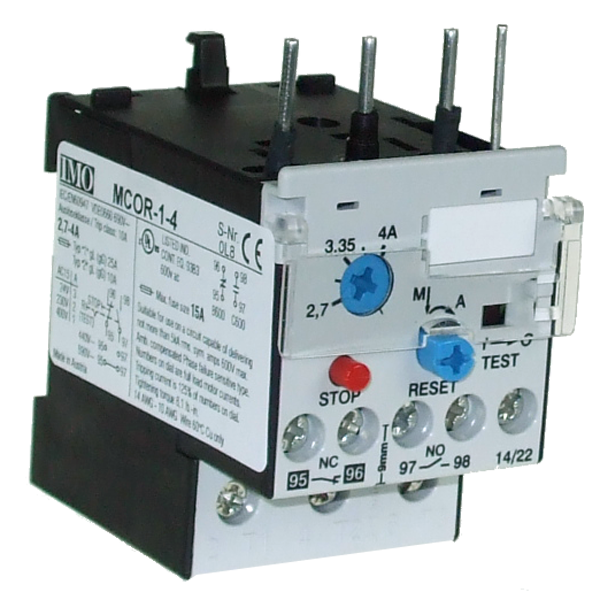 MCOR-1-4 Thermal Overload Relay For MC10 To MC22 Contactors 2.7 To 4 Amps