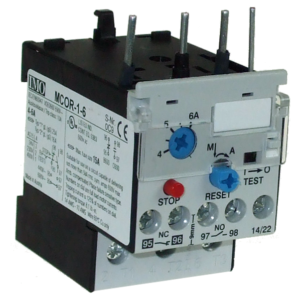 MCOR-1-6 Thermal Overload Relay For MC10 To MC22 Contactors 4 To 6 Amps